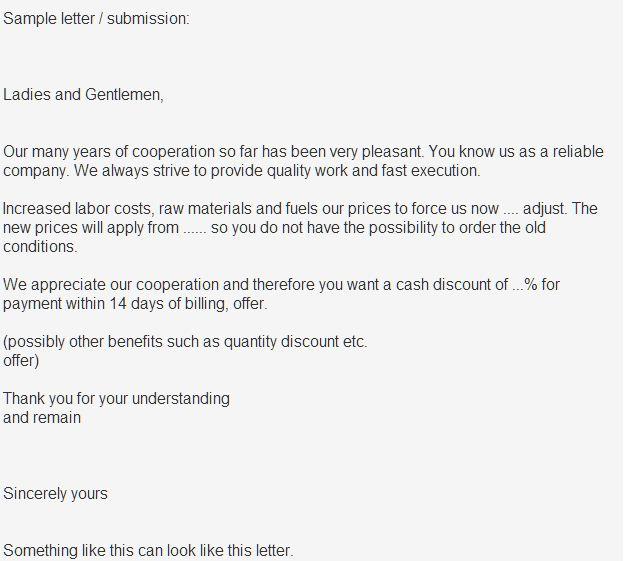 Musterbrief Freundliche Preiserhöhung Musterbriefe Und Vorlagen